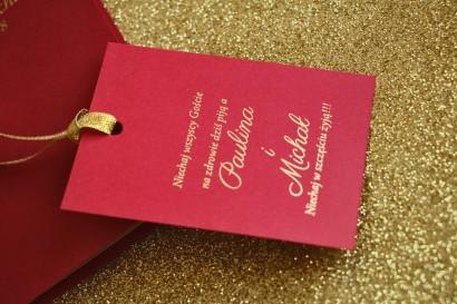 Zawieszki na butelki weselne ze złoceniem w stylu Glamour - Bordowe