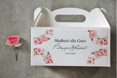 Prostokątne pudełko na ciasto, tort weselny, Ślub - Pistacjowe nr 23 - Pudrowo różowe kwiaty