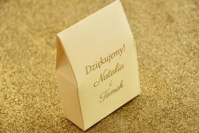 Pudełeczko na słodkości w stylu Glamour jako podziękowania dla gości weselnych. Kolor Waniliowy