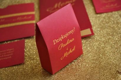 Pudełeczko na słodkości w stylu Glamour jako podziękowania dla gości weselnych. Kolor Bordowy