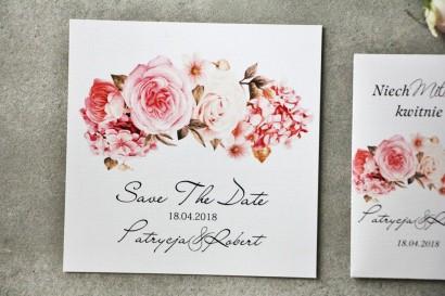 Bilecik Save The Date do zaproszenia - Pistacjowe nr 23 - Pudrowe różowe kwiaty