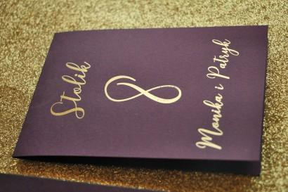 Numery stolików weselnych w stylu Glamour - Fioletowy