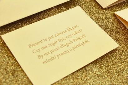 Bilecik do zaproszeń ślubnych w stylu Glamour, ze złoceniem, waniliowy