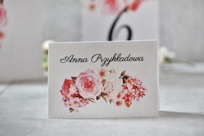 Winietki na stół weselny, ślub - Pistacjowe nr 23 - Pudrowo-różowe kwiaty