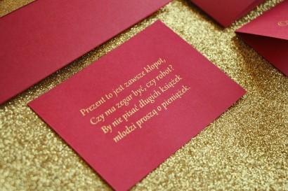 Bilecik do zaproszeń ślubnych w stylu Glamour, ze złoceniem, bordowy
