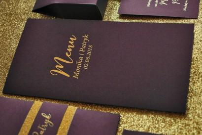 Menu Weselne ze złoceniem w stylu Glamour - Fioletowe