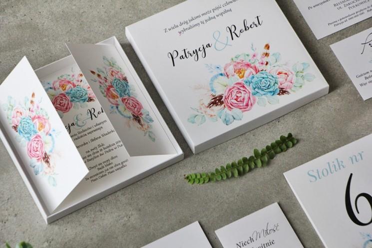 Efektowne Zaproszenie ślubne w pudełku - Pistacjowe nr 24 - Kompozycja boho w pastelowych barwach