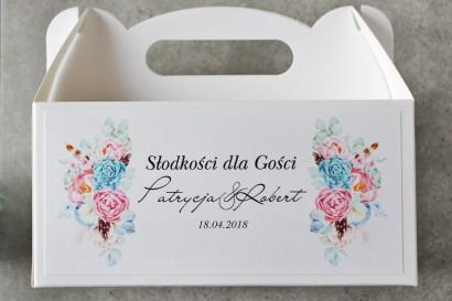 Prostokątne pudełko na ciasto, tort weselny, Ślub - Pistacjowe nr 24 - Pastelowa kompozycja w stylu boho