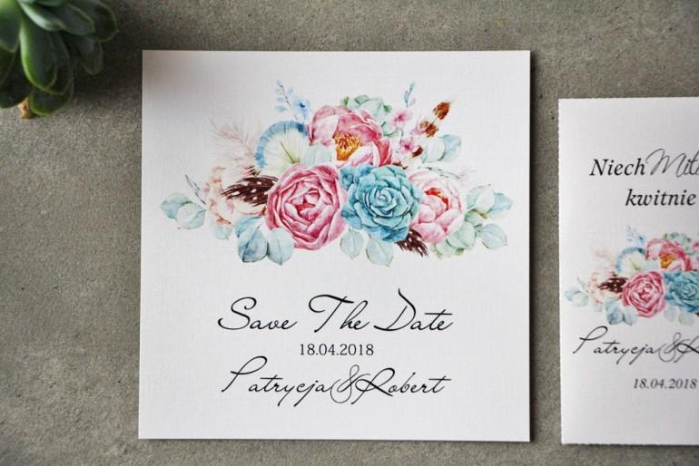 Bilecik Save The Date do zaproszenia - Pistacjowe nr 24 - Pastelowy wzór boho