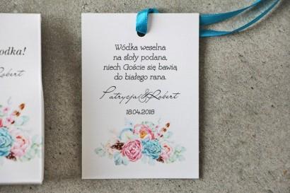 Zawieszka na butelkę, Wódka weselna, ślub - Pistacjowe nr 24 - Boho w odcieniach pastelowych