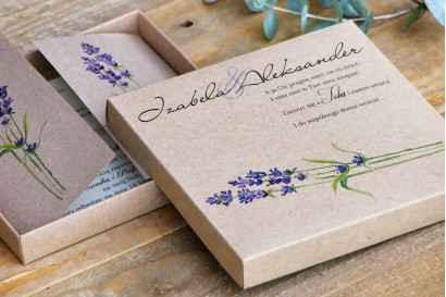 Efektowne zaproszenie ślubne w pudełku - Ekologiczne Margaret nr 1 - Jesienna lawenda