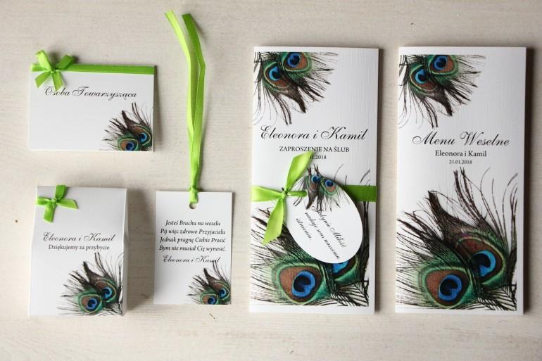 Zestaw próbny zaproszeń ślubnych wraz z winietkami, zawieszkami, menu weselne oraz podziękowania dla gości - Magnet nr 1