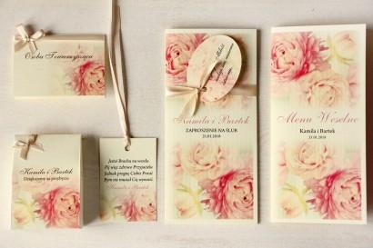 Zestaw próbny zaproszeń ślubnych wraz z winietkami, zawieszkami, menu weselne oraz podziękowania dla gości - Magnet nr 3