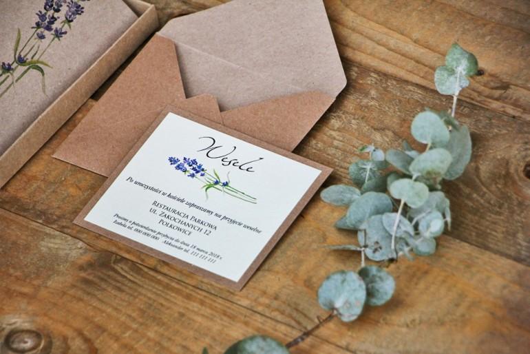 Bilecik dwuwarstwowy prezenty wesele - Margaret nr 1 - Ekologiczne - Jesienne gałązki lawendy