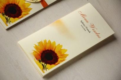 Kwiatowe Menu Weselne ze słonecznikiem.