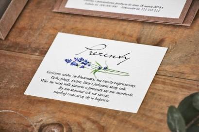 Bilecik do zaproszenia 105 x 74 mm prezenty ślubne wesele - Margaret nr 1 - Jesienna lawenda