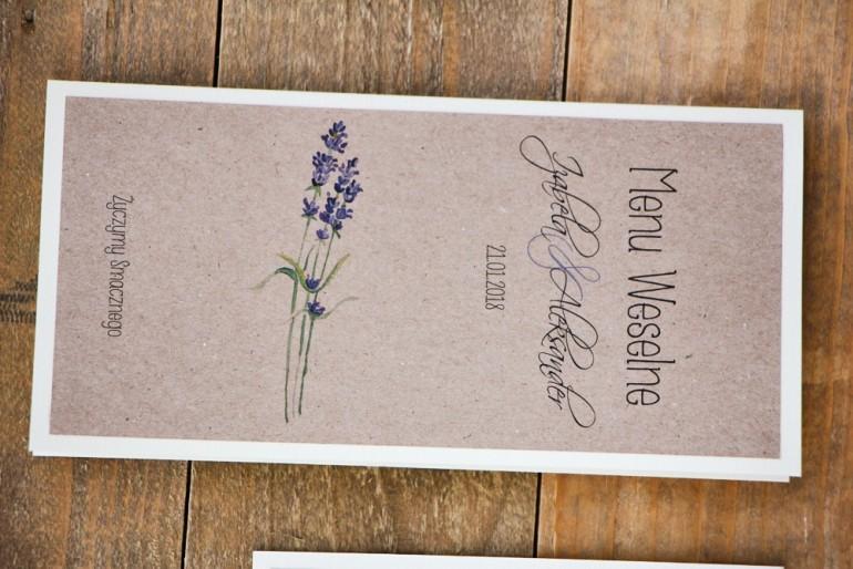 Menu weselne, stół weselny - Margaret nr 1 - Ekologiczne - Jesienna lawenda