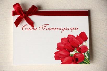 Ślubne Winietki na stół weselny z czerwonymi tulipanami