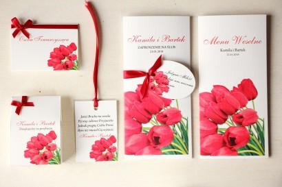 Zestaw próbny zaproszeń ślubnych wraz z winietkami, zawieszkami, menu weselne oraz podziękowania dla gości - Magnet nr 4