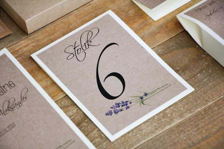 Numery stolików, stół weselny, ślub - Margaret nr 1 - Jesiennie wrzosy