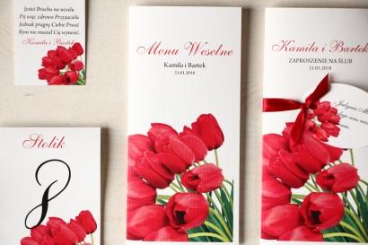 Kwiatowe Menu Weselne z czerwonymi tulipanami.