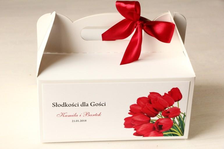 Pudełko na Ciasto weselne z czerwonymi tulipanami.