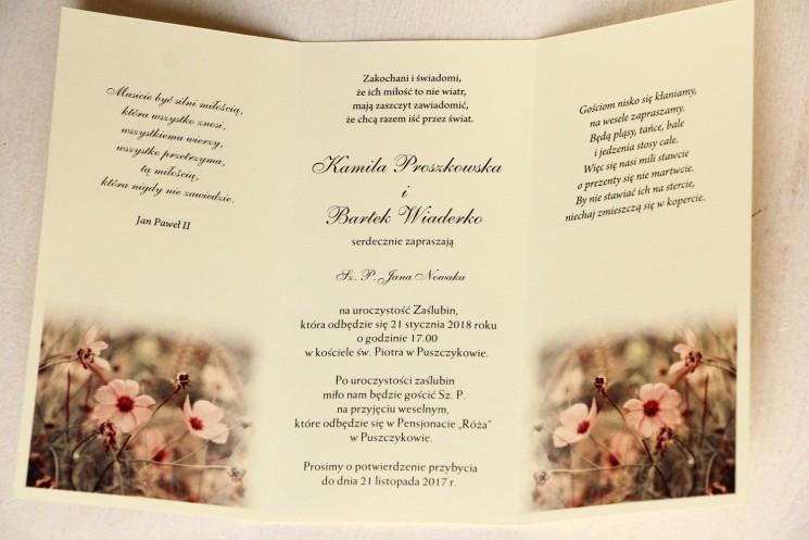 Jesienne zaproszenia ślubne w kolorach kremowo-brązowych - Wnętrze zaproszenia