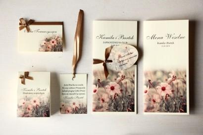 Zestaw próbny zaproszeń ślubnych wraz z winietkami, zawieszkami, menu weselne oraz podziękowania dla gości - Magnet nr 5