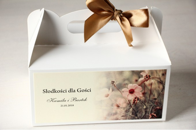Pudełko na Ciasto weselne w kolorach kremowo-brązowych