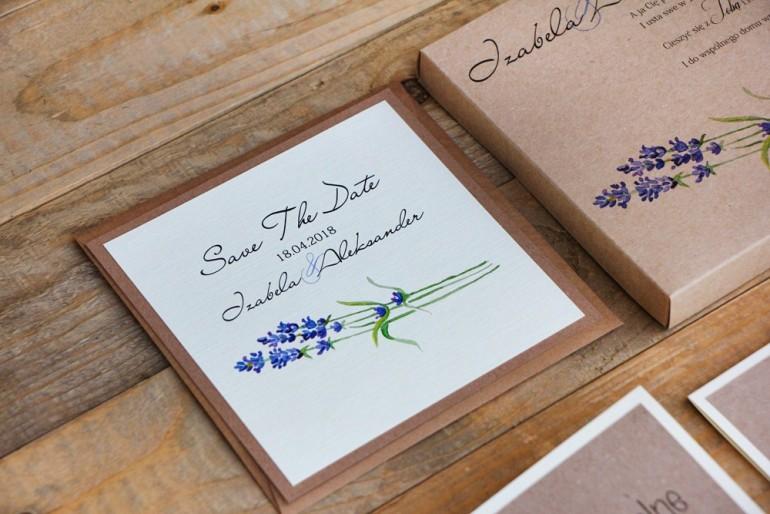 Bilecik Save The Date do zaproszenia ślubnego Margaret nr 1 - Jesienna lawenda