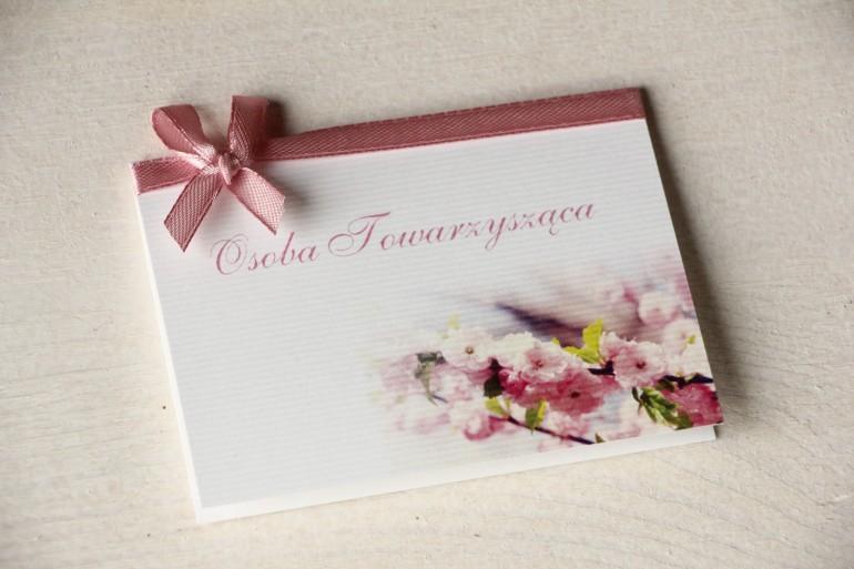 Ślubne Winietki na stół weselny z gałązką kwitnącej wiśni