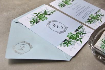 Zimowe zaproszenia ślubne ze srebrzeniem i eukaliptusem