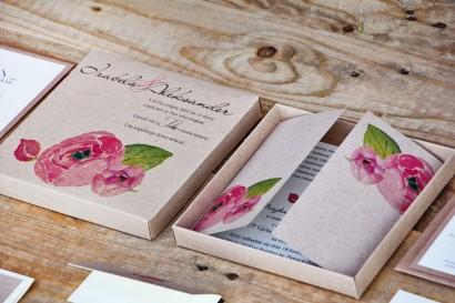 Efektowne zaproszenie ślubne w pudełku - Ekologiczne Margaret nr 2 - Różowe róże