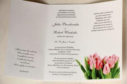 Wnętrze zaproszenia - Zaproszenia ślubne z różowymi tulipanami