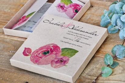 Efektowne zaproszenie ślubne w pudełku - Ekologiczne Margaret nr 2 - Róże