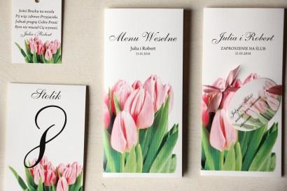 Kwiatowe Menu Weselne z różowymi tulipanami