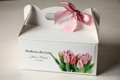 Pudełko na Ciasto weselne z różowymi tulipanami