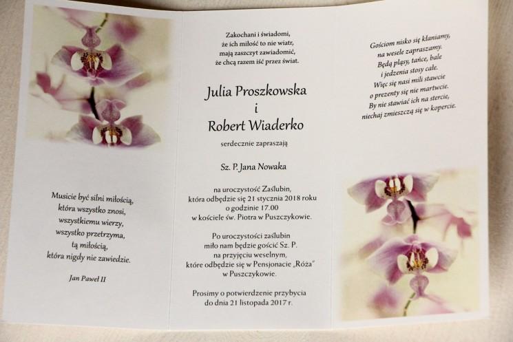 Wnętrze zaproszenia - Zaproszenia ślubne z orchideą