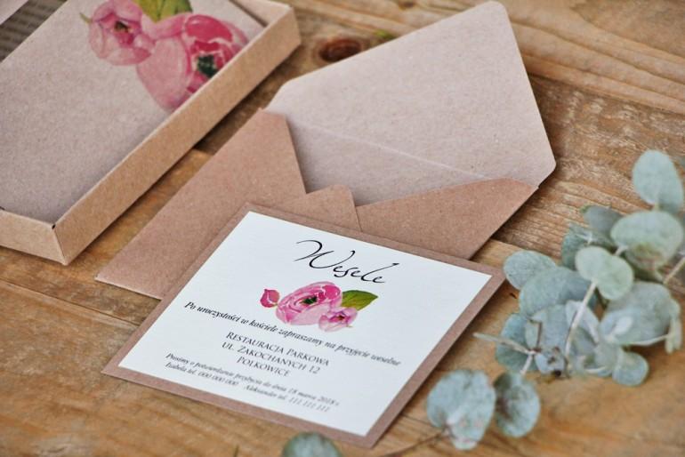 Bilecik dwuwarstwowy prezenty wesele - Margaret nr 2 - Ekologiczne - Różowe róże z akcentem zieleni
