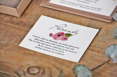 Bilecik do zaproszenia 105 x 74 mm prezenty ślubne wesele - Margaret nr 2 - Różowe róże z zielenią