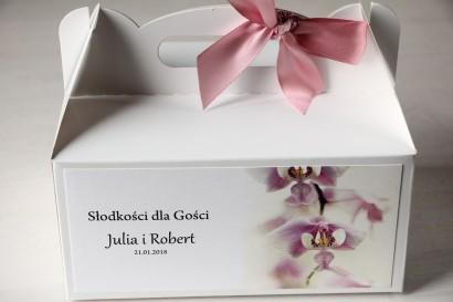 Kwiatowe Pudełko na Ciasto weselne z orchideą