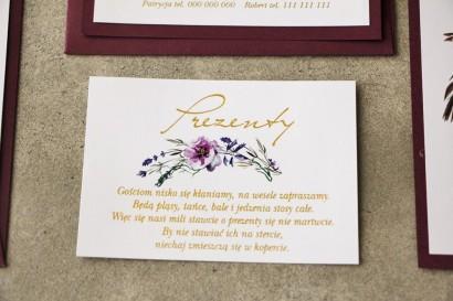 Bilecik prezenty ślubne wesele - Cykade nr 1 ze złoceniem - Delikatne fioletowe kwiaty