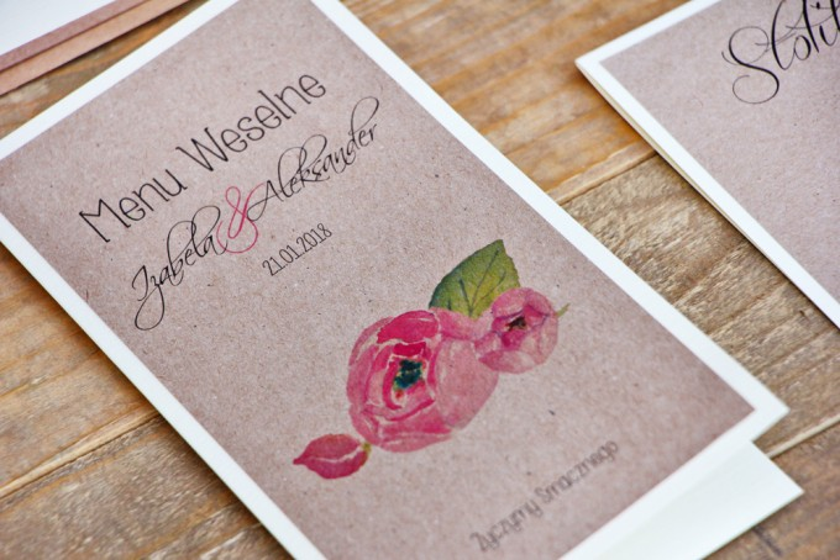 Menu weselne, stół weselny - Margaret nr 2 - Ekologiczne - Różowe kwiaty z akcentami zieleni