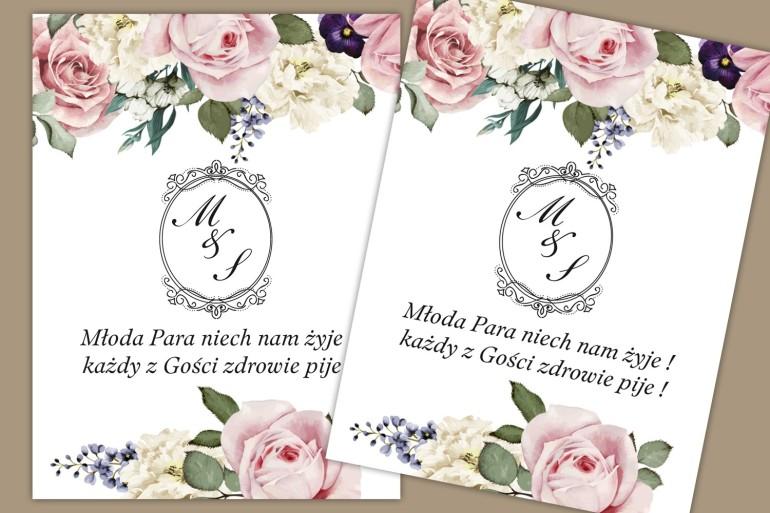 Etykiety samoprzylepne na butelki weselne, ślubne. Delikatny, romantyczny wzór z pastelowymi różami,