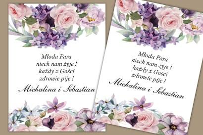 Etykiety samoprzylepne na butelki weselne, ślubne. Pastelowa kompozycja w barwach fioletu