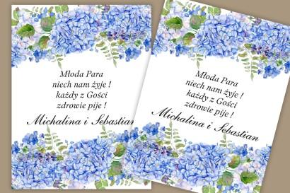 Etykiety samoprzylepne na butelki weselne, ślubne. Błękitne kwiaty hortensji i lawendy