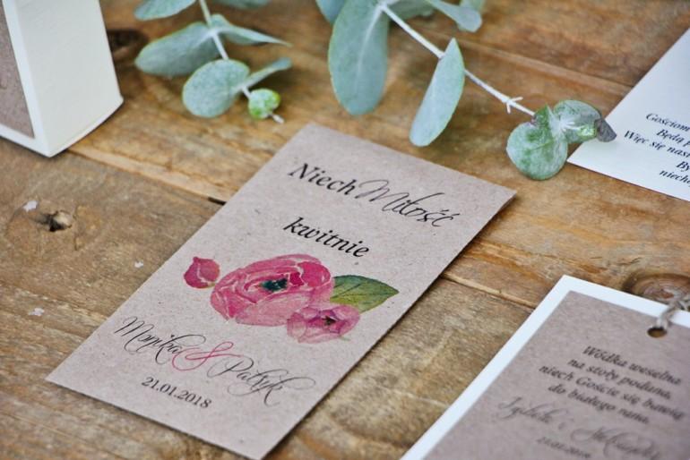 Podziękowania dla Gości weselnych - nasiona Niezapominajki - Margaret nr 2 - Różowe róże z akcentem zieleni