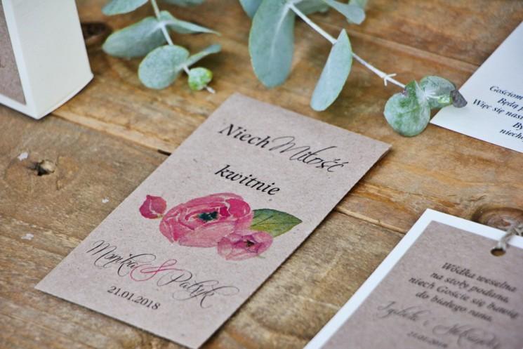 amarantowe podziękowania dla gości weselnych