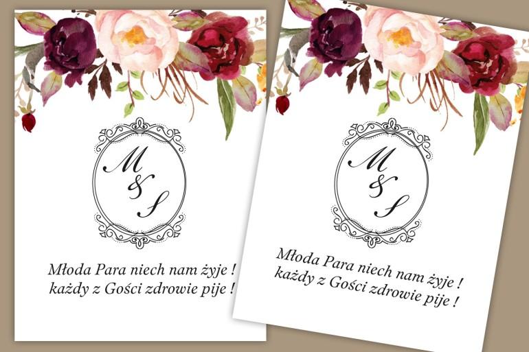Etykiety samoprzylepne na butelki weselne, ślubne. Elegancki wzór kwiatowy z różami i piwoniami