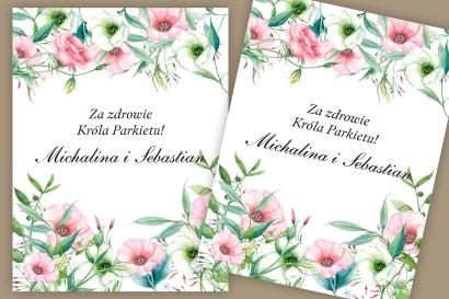 Etykiety samoprzylepne na butelki weselne, ślubne. Subtelny, pastelowy wzór z eustomą oraz polnymi kwiatami